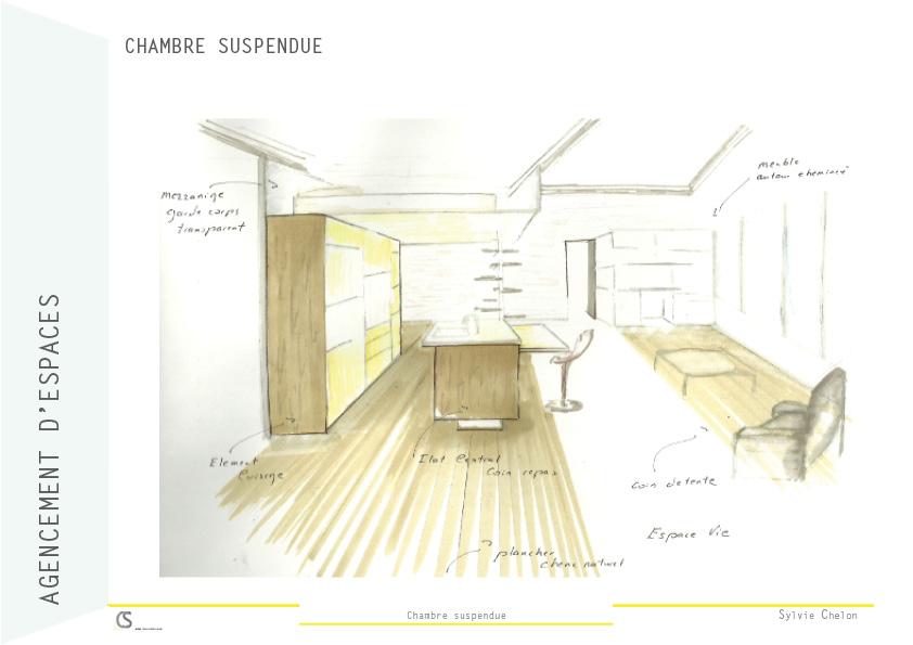 cuisine ouverte chambre suspendue AIM DecoDesign