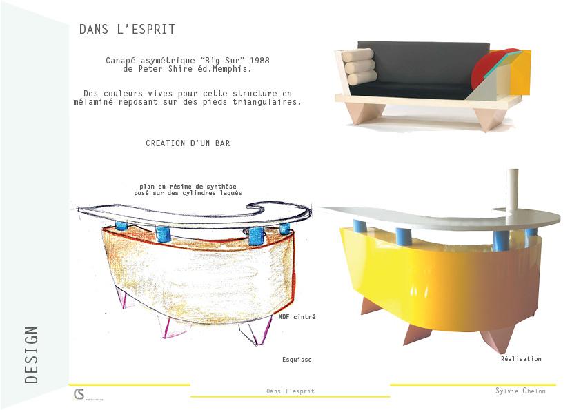 Bar séparatif d'espaces AIM DecoDesign inspiration mobilier existant Peter Shire